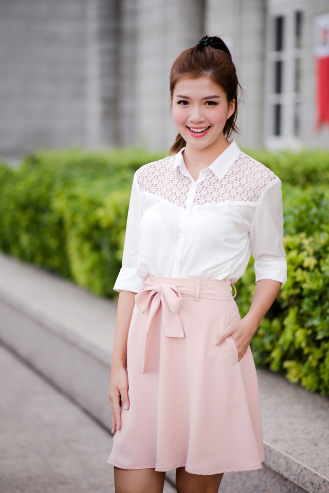 Crochet Relaxed Fit Shirt in White