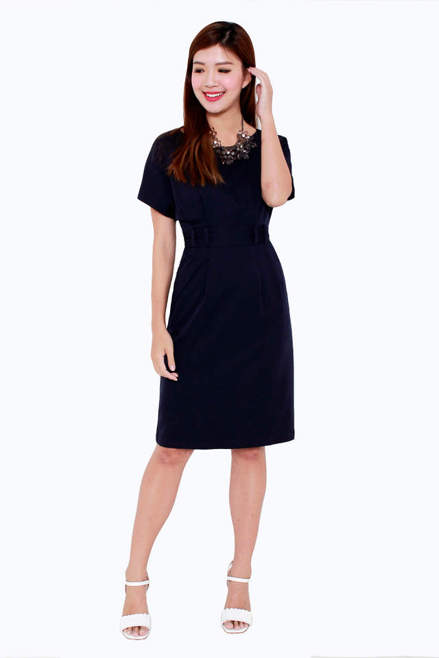 Erin Wide Neck Shoulder Dress in Navy