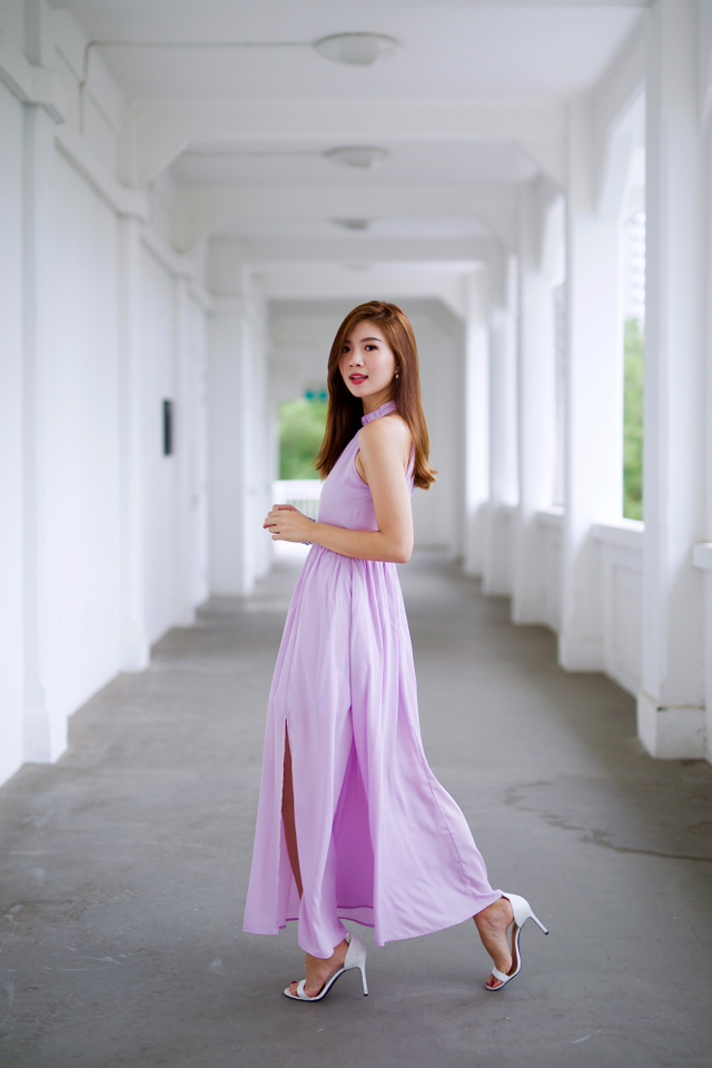 Penelope High Neck Maxi Dress in Lilac