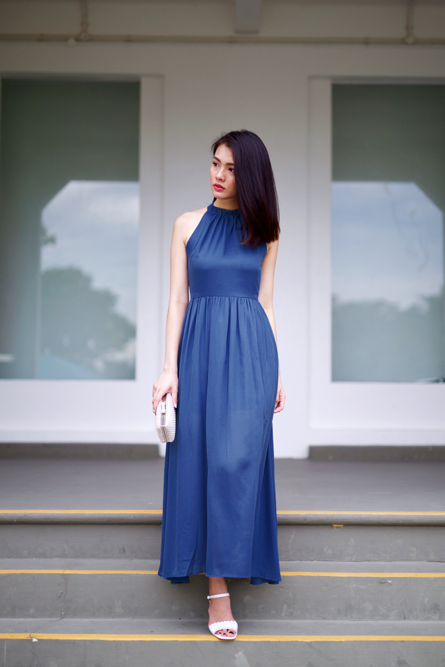 Penelope High Neck Maxi Dress in Steel Blue