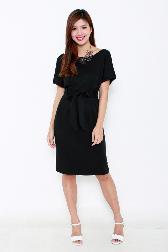 Erin Wide Neck Shoulder Dress in Black