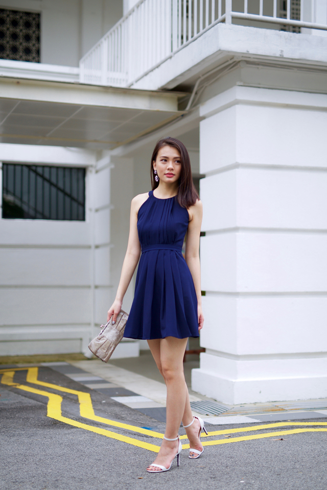 Pleated Perfection Dress in Navy