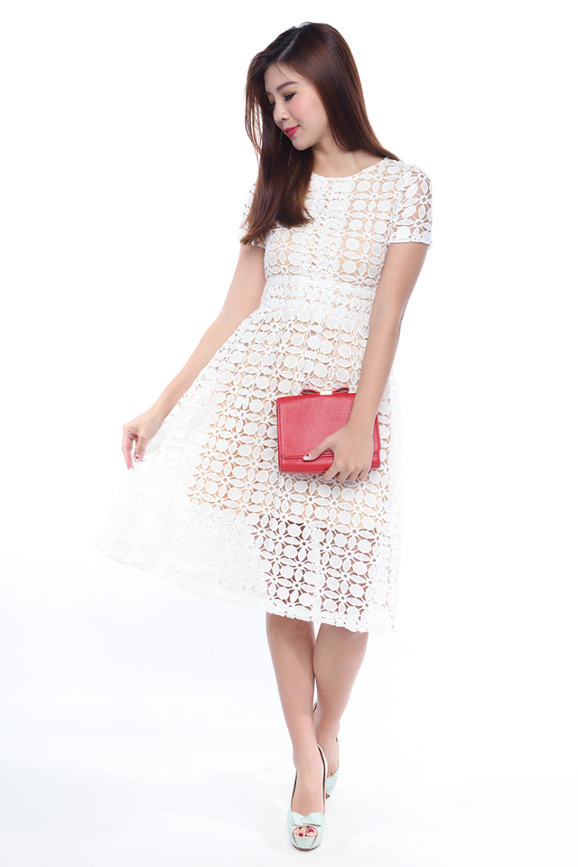 Crochet Rhapsody Dress in White
