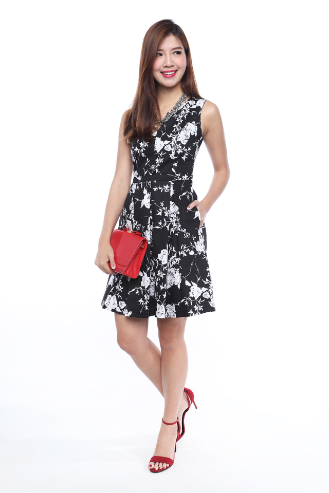 Floral Reminisce Dress in Monochrome Florals
