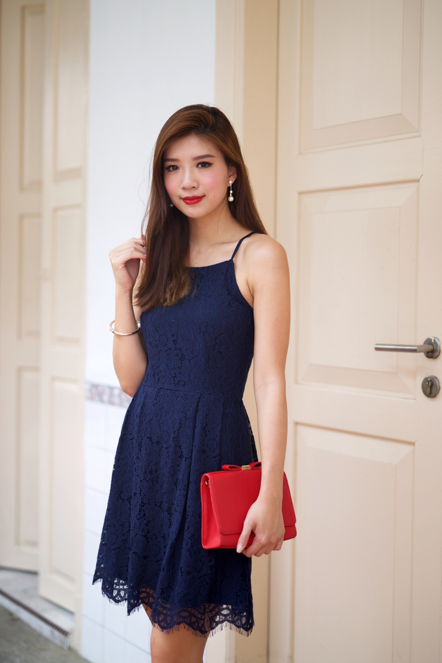 Lacey Waltz Dress in Navy