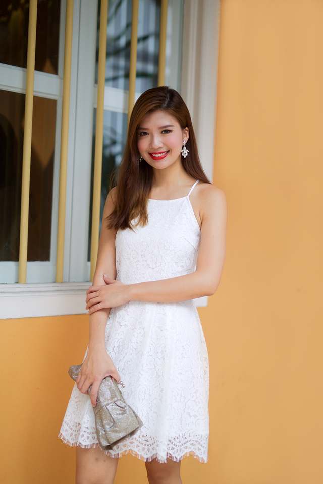 Lacey Waltz Dress in White