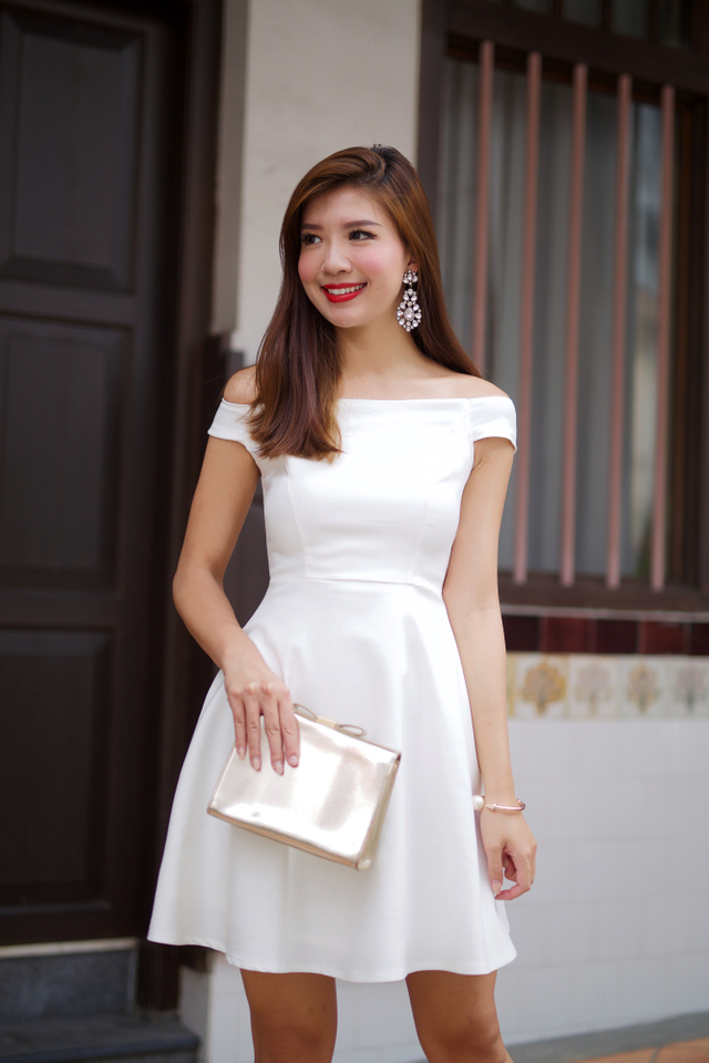 Prosperity Off Shoulder Swing Dress in White