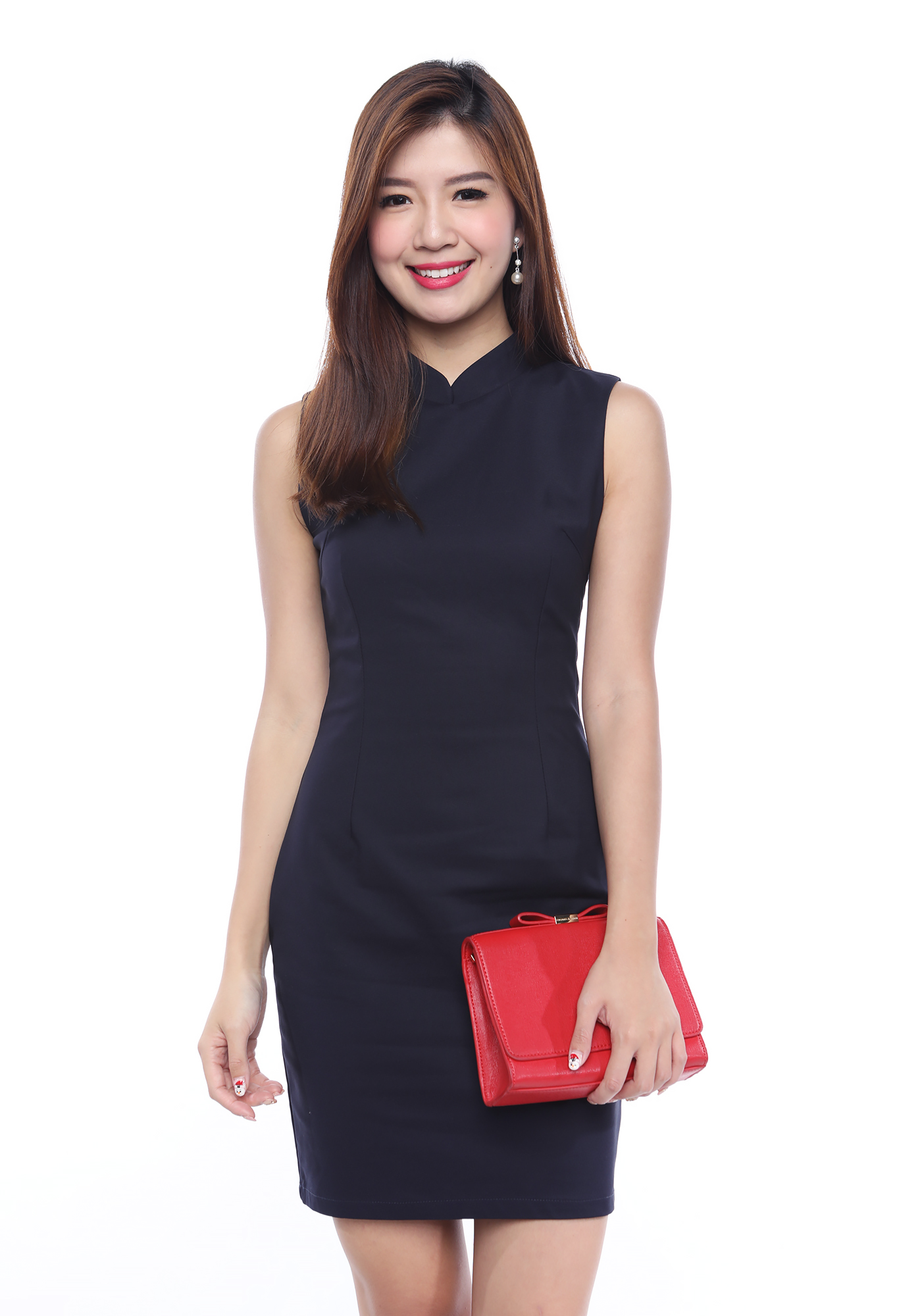 Get This Dress And Accessories At Its Fashion Metro In: Abundant Blessings Mandarin Collar Dress In Navy
