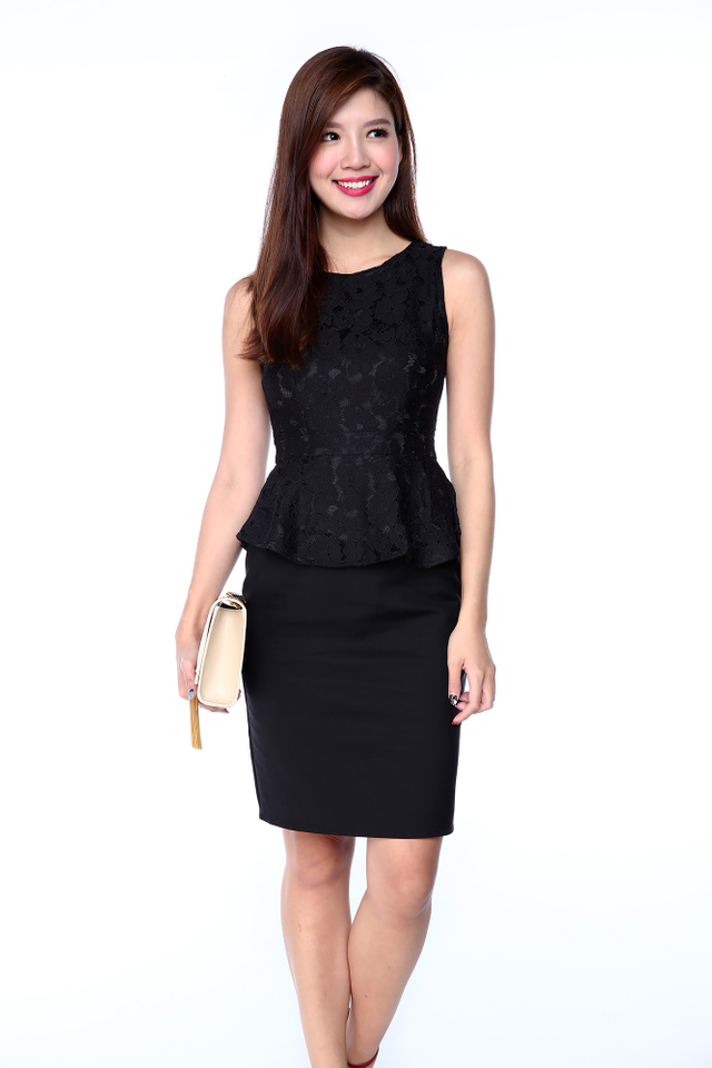 Lisette Lace Top Peplum Dress in Black