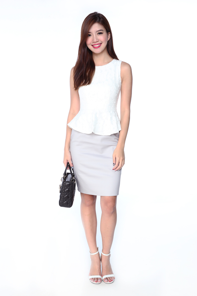 Lisette Lace Top Peplum Dress in White Grey