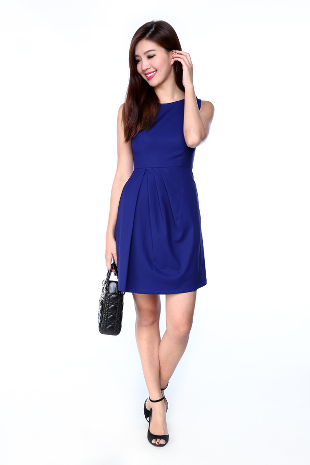 Ember Side Pleated Dress in Blue