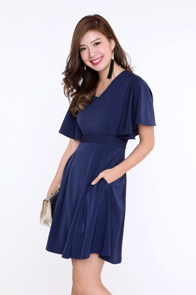 Flutter Sleeves Dress in Navy