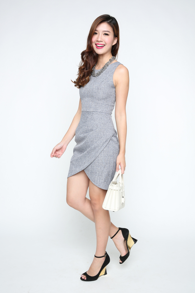 Alicia Tulip Hem Dress in Tweed Grey