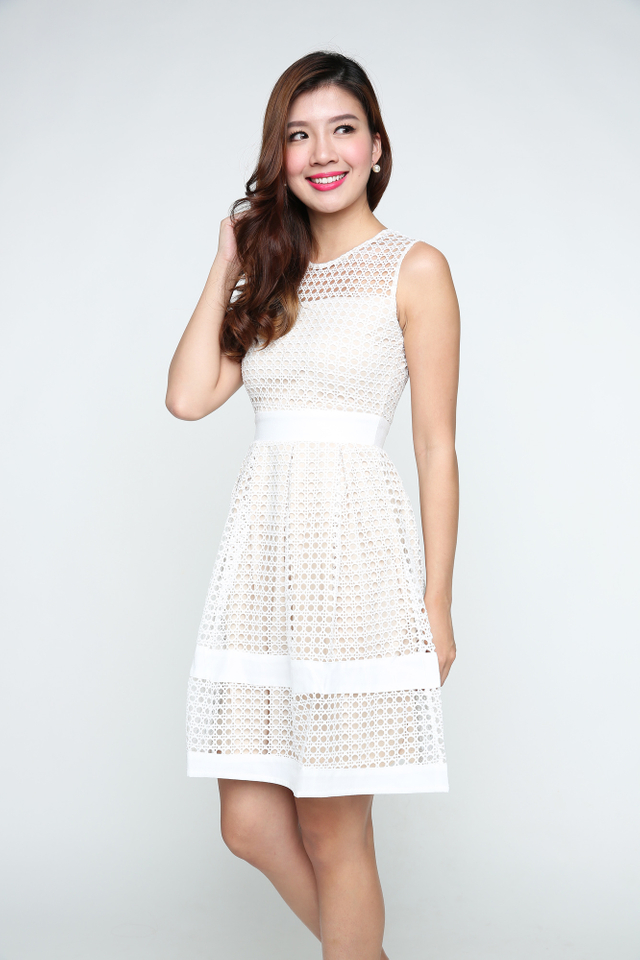 Hannah Crochet Dress in Cream White