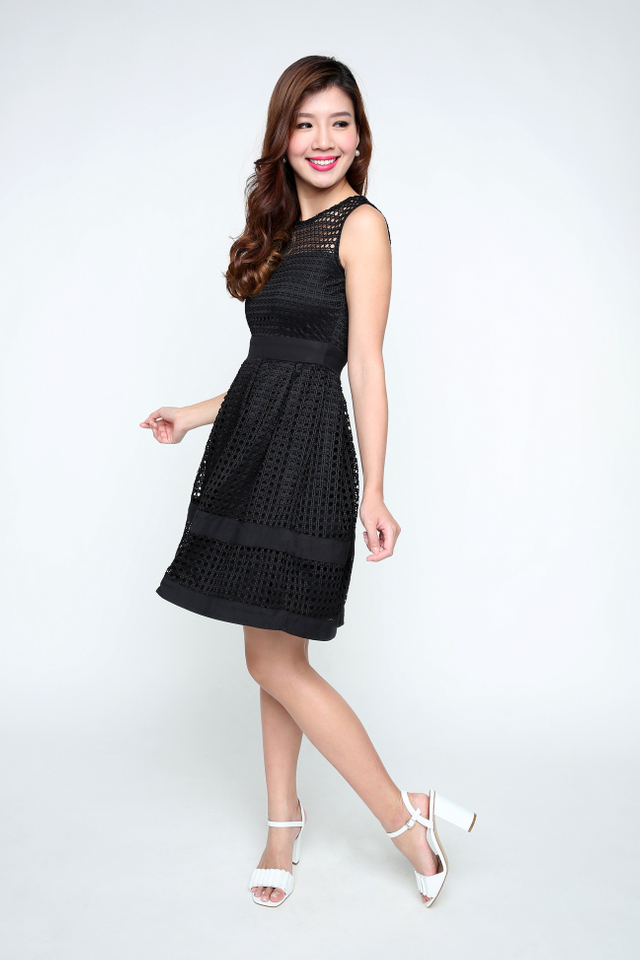 Hannah Crochet Dress in Black