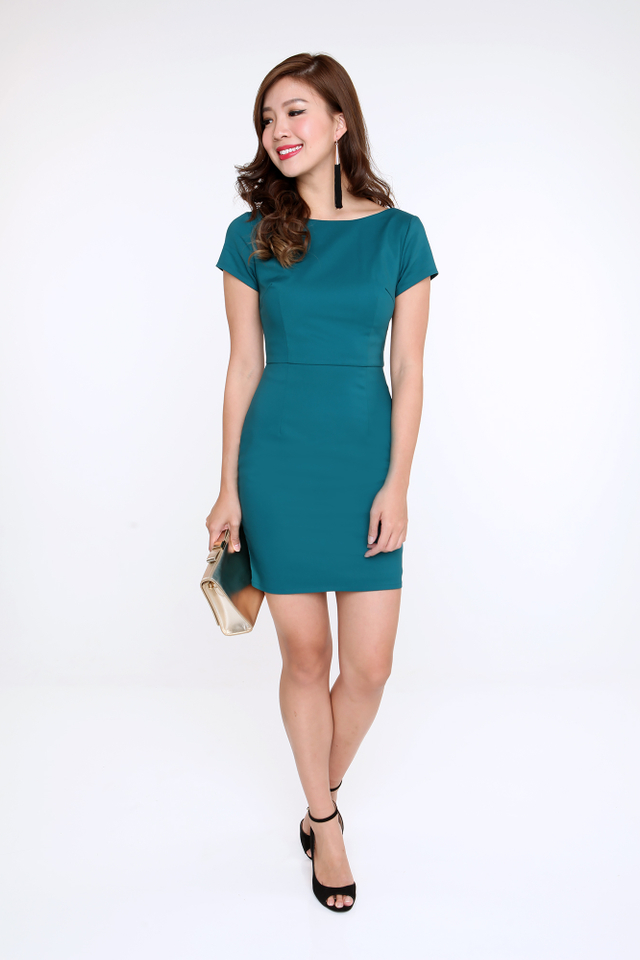 Kelly Scoop Back Pencil Work Dress in Teal Green