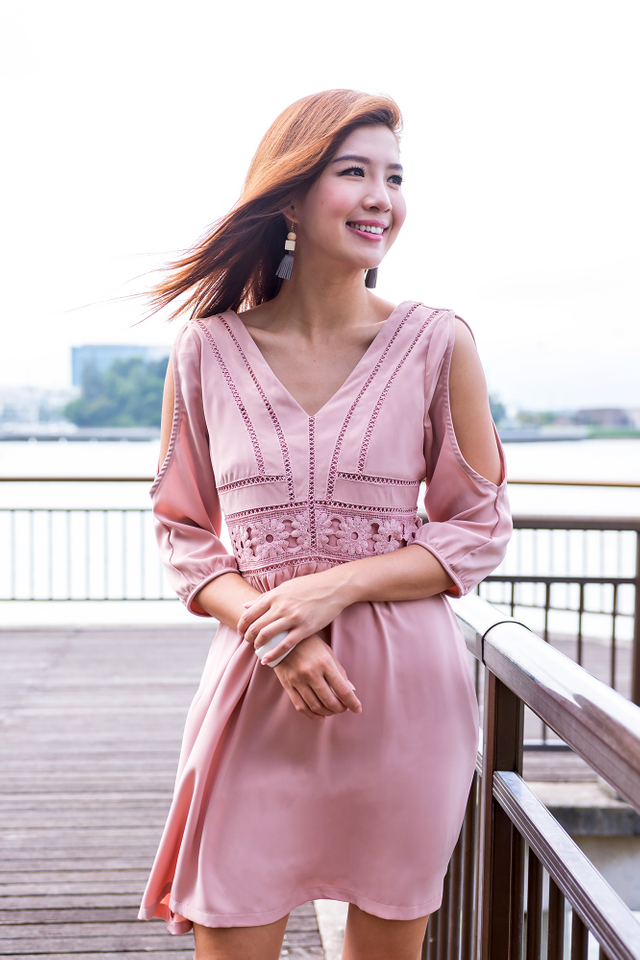 Leia Cold Shoulders Dress in Nude Pink