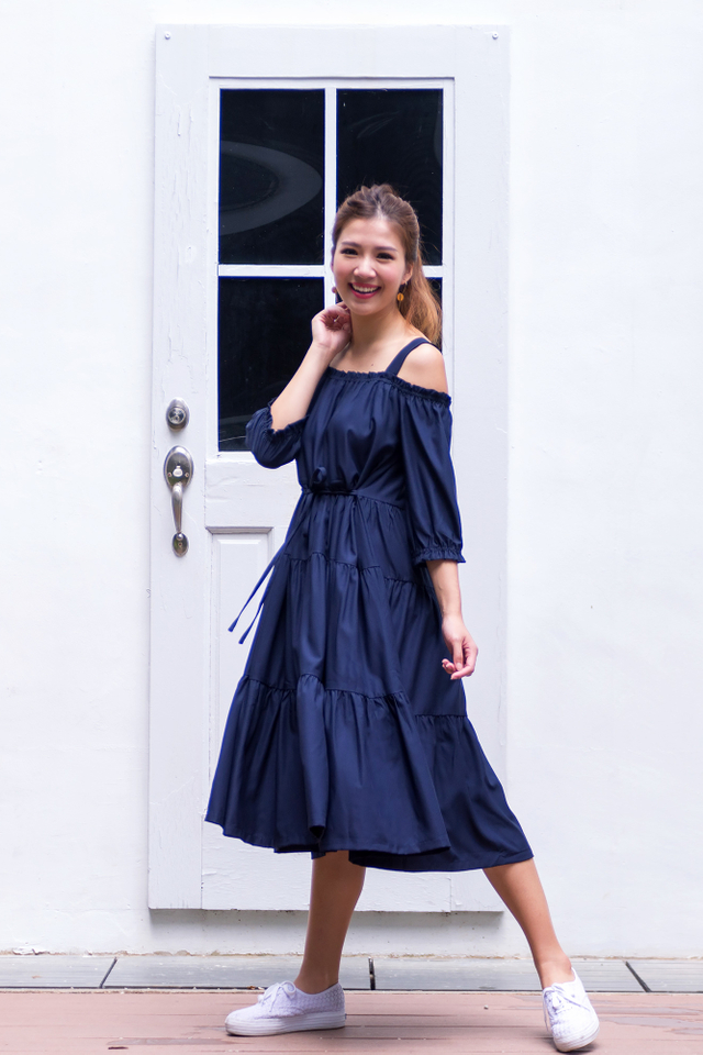 Harper Drop-Shoulder Maxi Dress in Navy