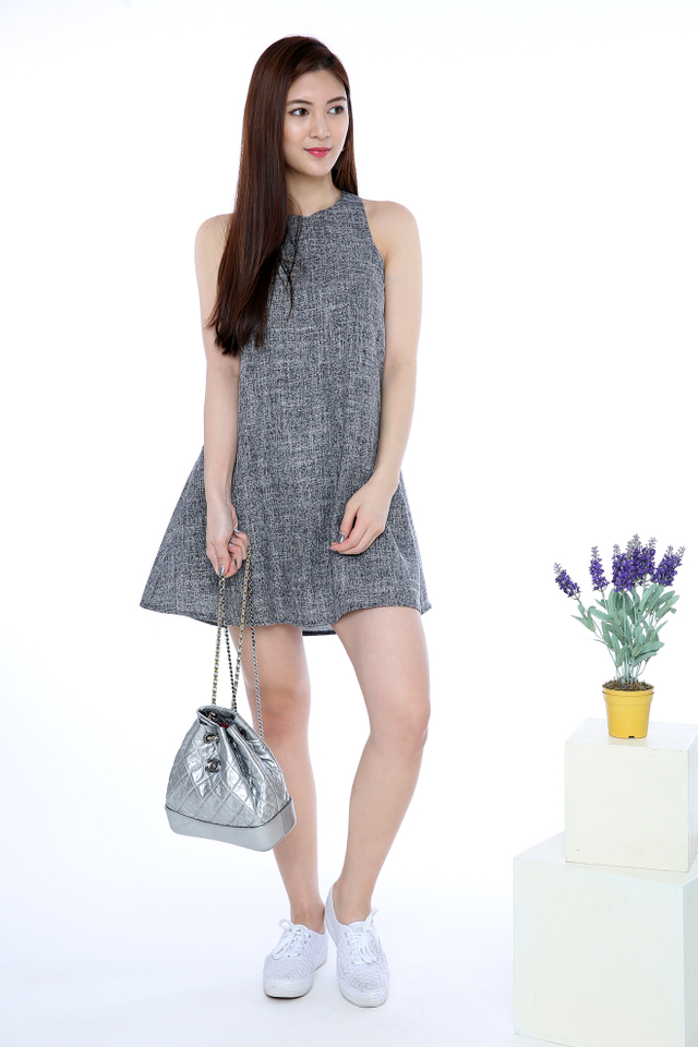 Jessie Trapeze Dress in Grey