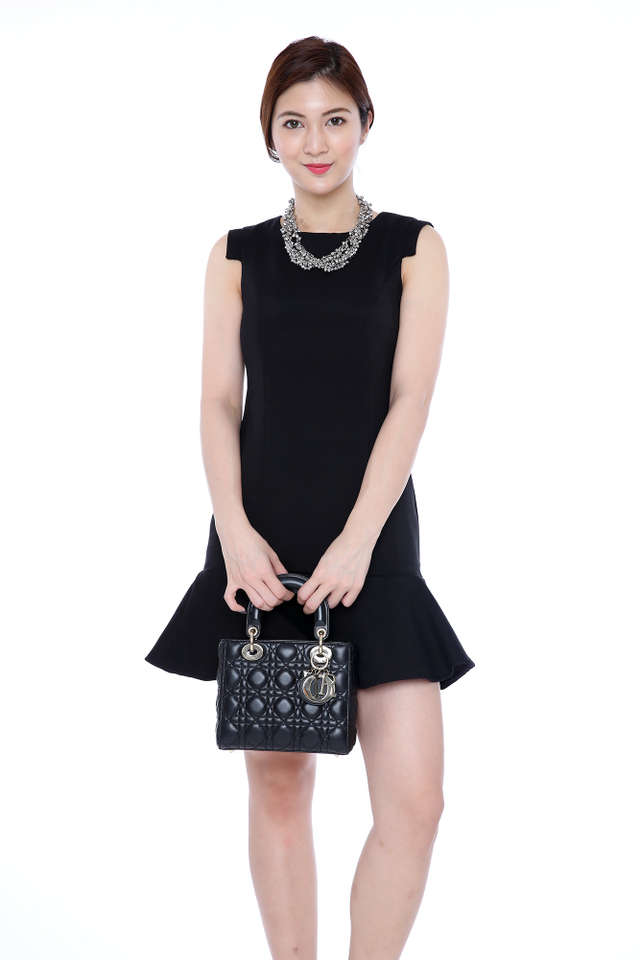 Taylor Angular Sleeves Dress in Black