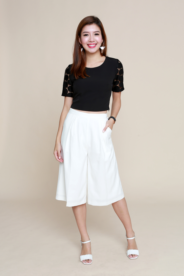 Bridgette Crochet Cropped Top in Black
