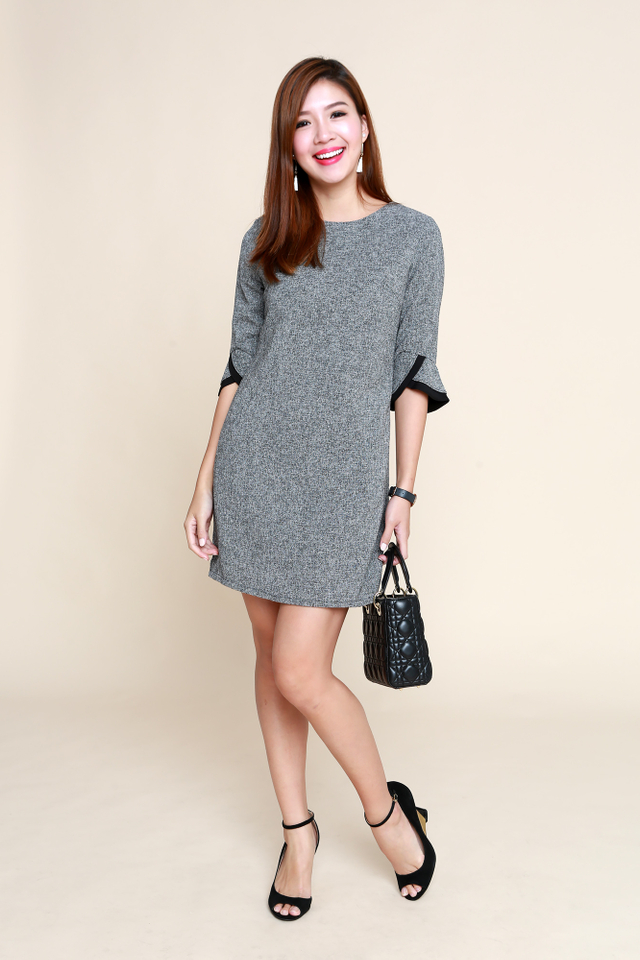 Emily Mid-Sleeves Tweed Work Dress in Grey