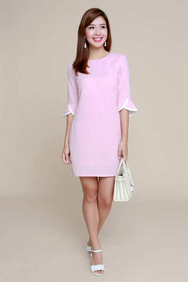 Emily Mid-Sleeves Tweed Work Dress in Pink
