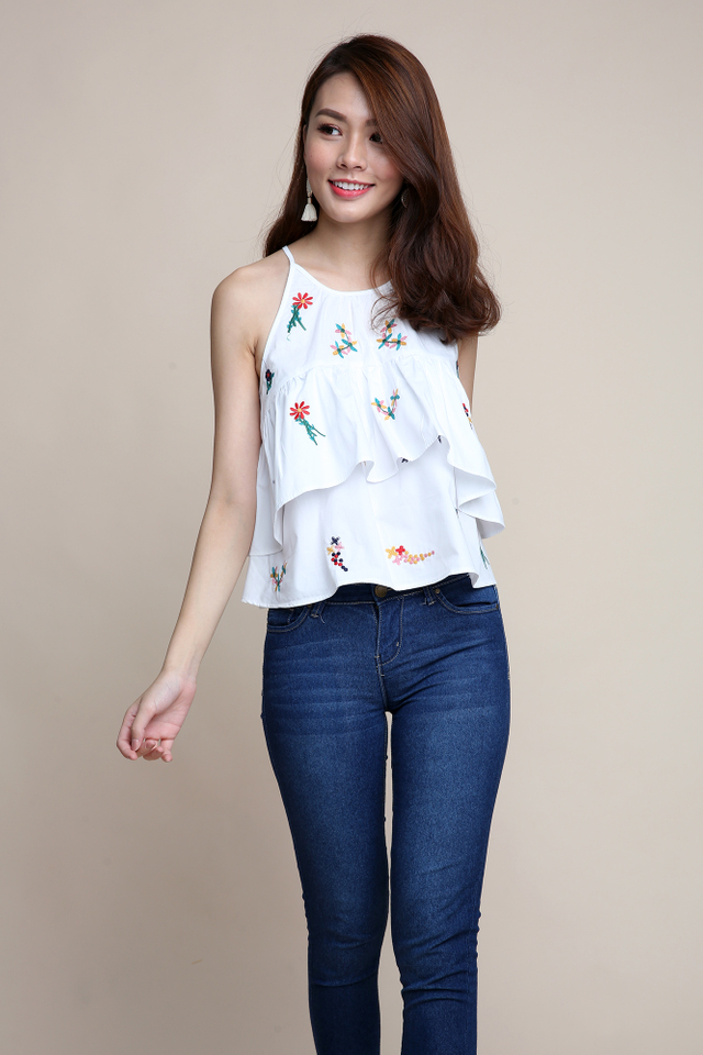 Floral Bouquet Embroidery Top