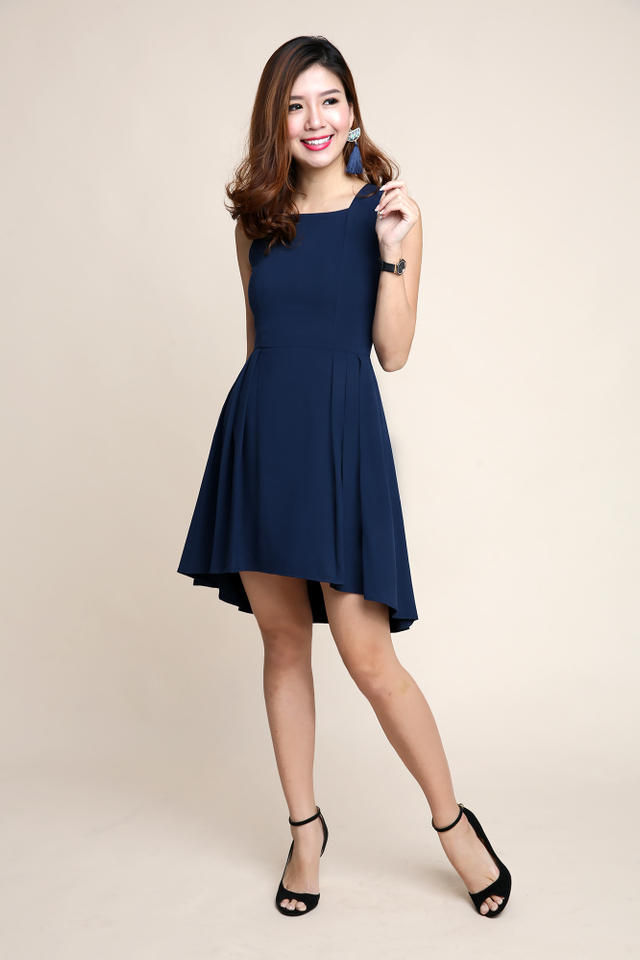 Maxine Hi-Lo Dress in Navy