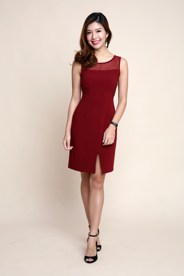 Lauryn Chiffon Neckline Dress in Wine Red