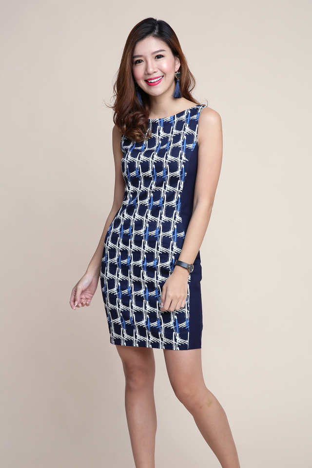 Colette Side Panel Dress in Navy Abstract