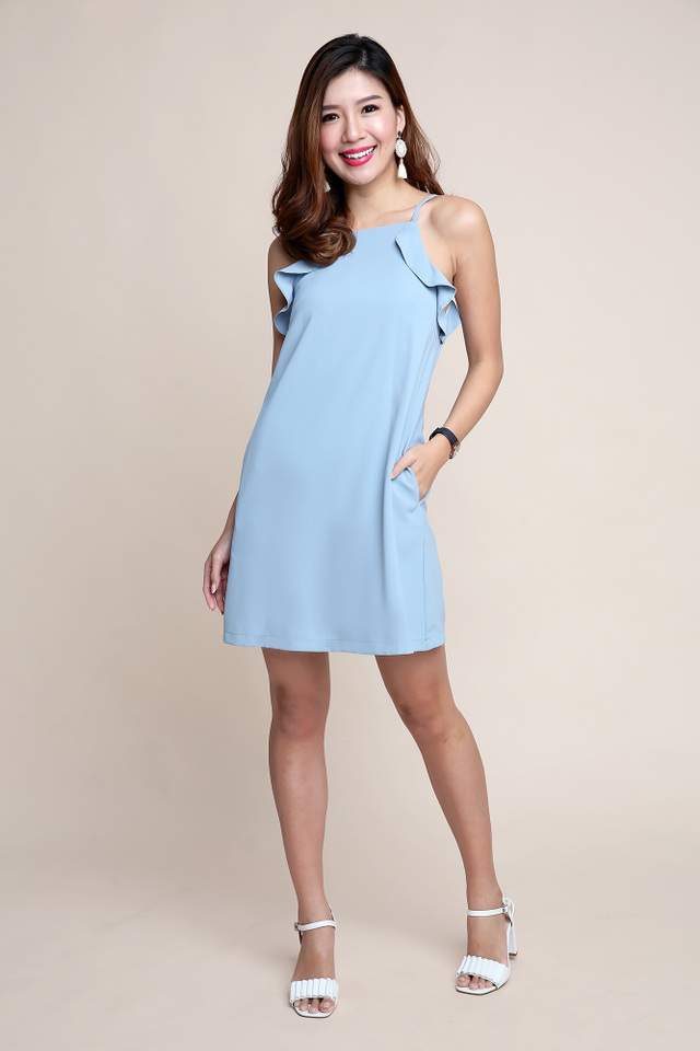 Keri Frills Dress in Cloud Blue