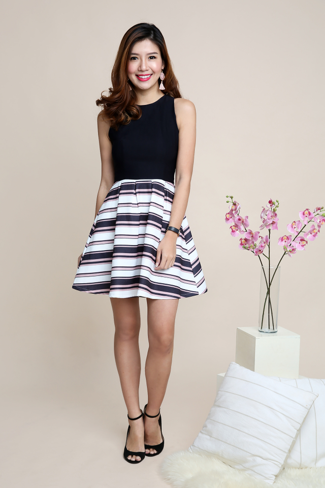 Adelia Dress in Black Pink Stripes