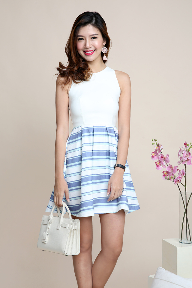Adelia Dress in Sky Mint Stripes