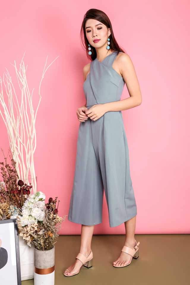 Celine Cross Front Jumpsuit in Ash Blue
