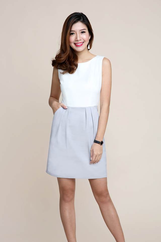 Corporate Beauty Midi Dress in White Grey