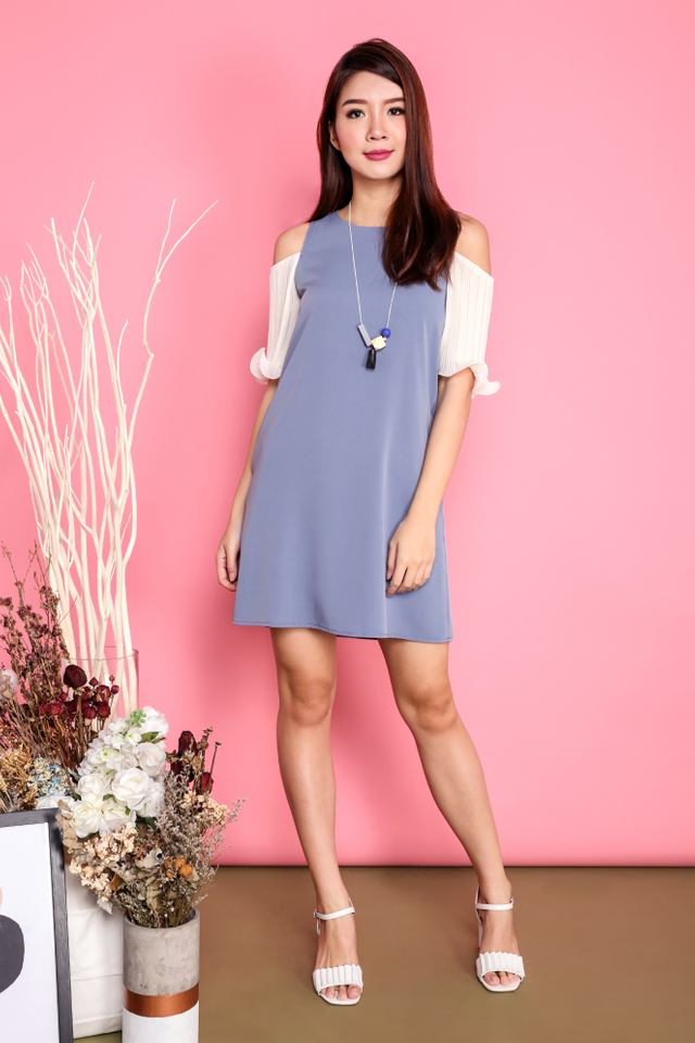*RESTOCKED* Merry Pleats Cold Shoulders Dress in Dusk Blue