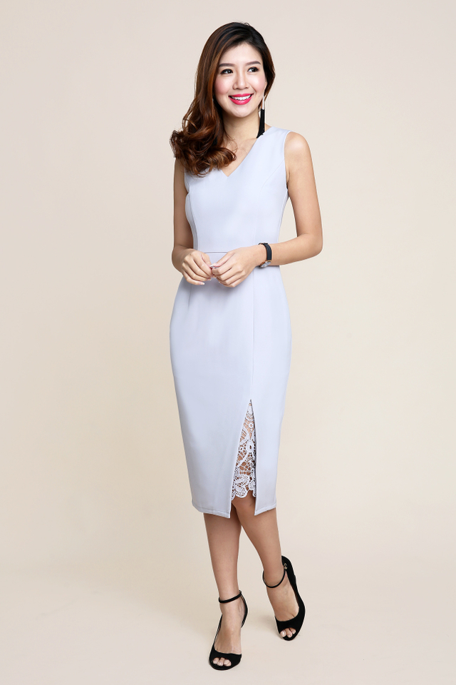 Serena Crochet Peekaboo Midi Dress in Grey