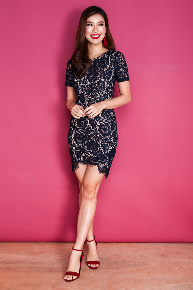 Aurelia Lace Bodyfit Dress in Navy