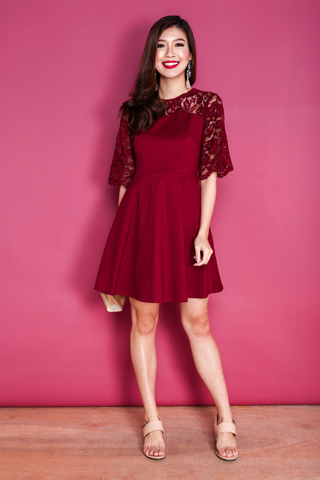 Eloise Lace Bell Sleeves Dress in Wine Red