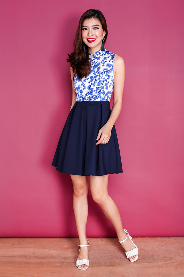 Flowers Blossom Dress in Navy