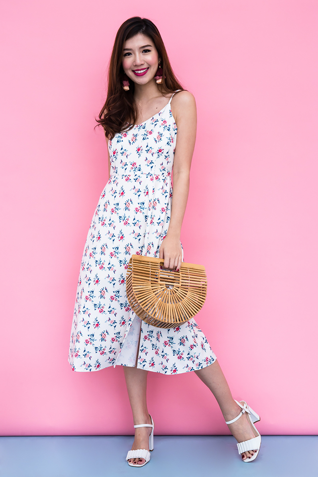 Picture Perfect Midi Dress in Cream Florals