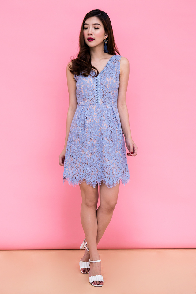 Ivanka V-Neck Lace Dress in Sky