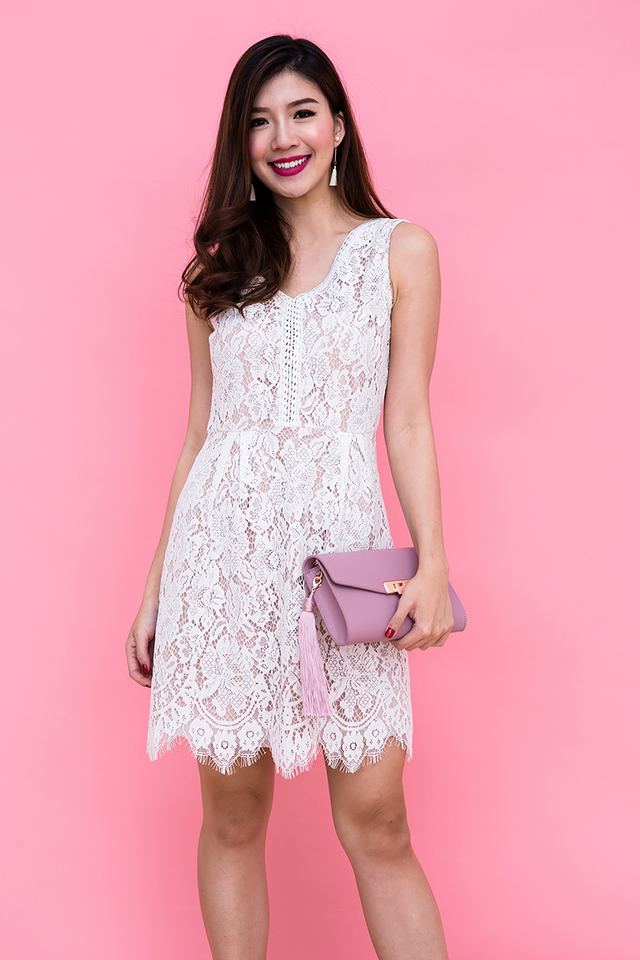 Ivanka V-Neck Lace Dress in White