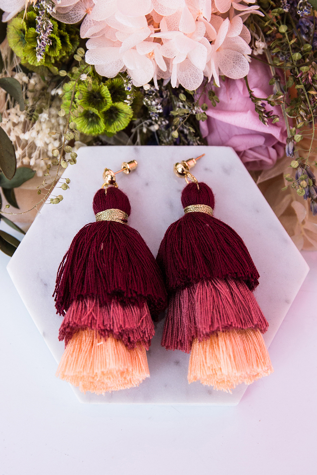 Paige Tassel Earrings in Rose Wine