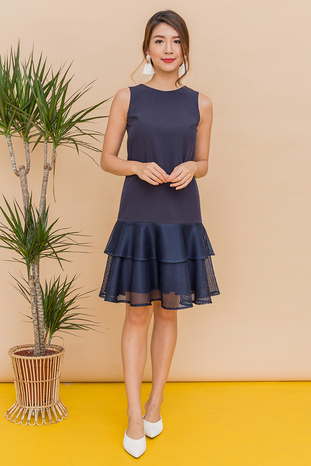 Arielle Mesh Double Tier Dress in Navy
