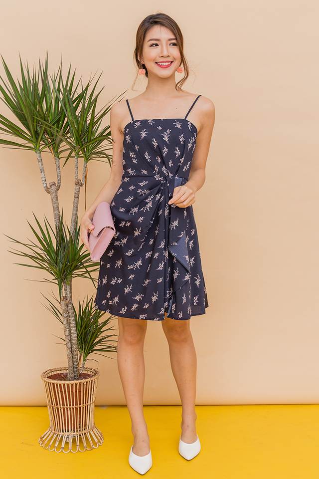 Bonita Pleated Ruffle Dress in Navy Willow