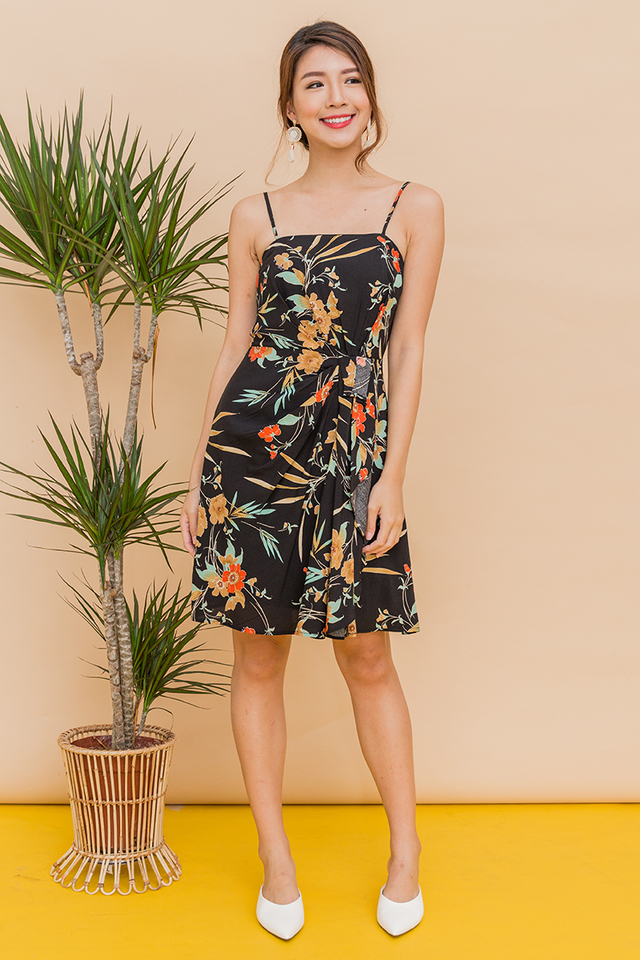 Bonita Pleated Ruffle Dress in Tropical Print