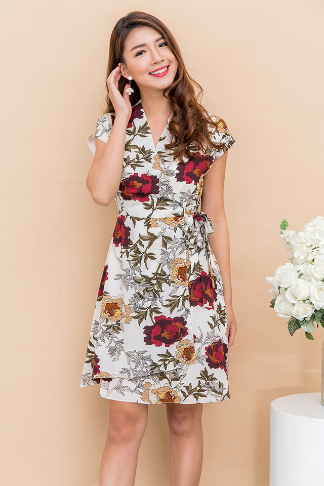 Emeline Wrap Dress in Rustic Florals