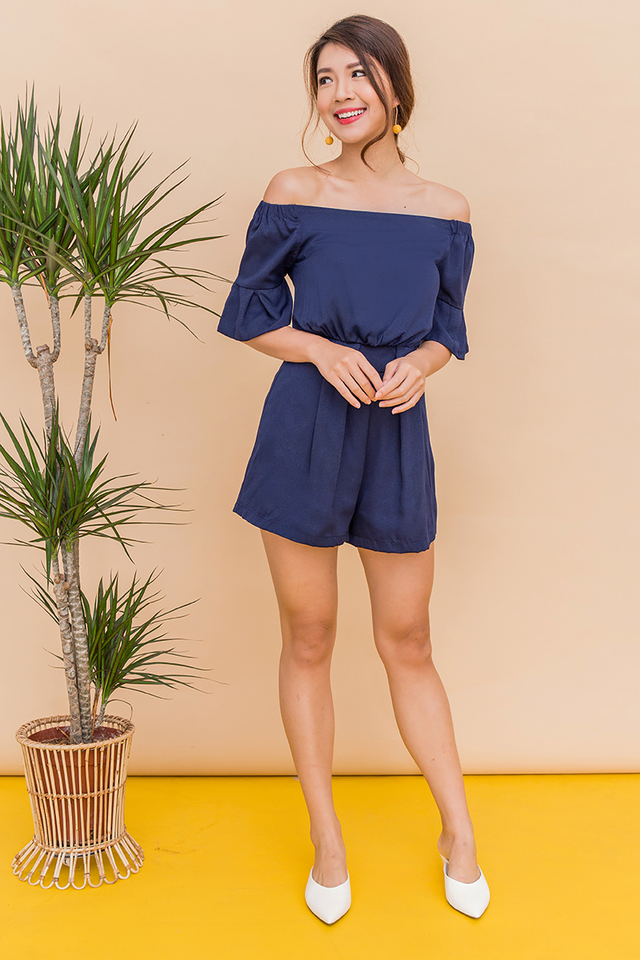 Hey Summer Off Shoulder Romper in Solid Navy